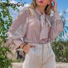 BerryGo เรขาคณิตยาวแขนเสื้อเสื้อ 2020 ฤดูร้อนฤดูใบไม้ผลิผู้หญิงเสื้อ Elegant Pink ทำงาน Tie คอหญิง TOP