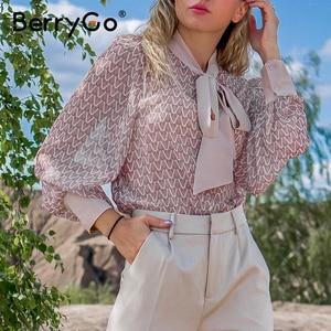 Image 1 - BerryGo Casual geometric long sleeve blouse shirt 2020 Summer spring  women blouses Elegant pink work wear tie neck female top