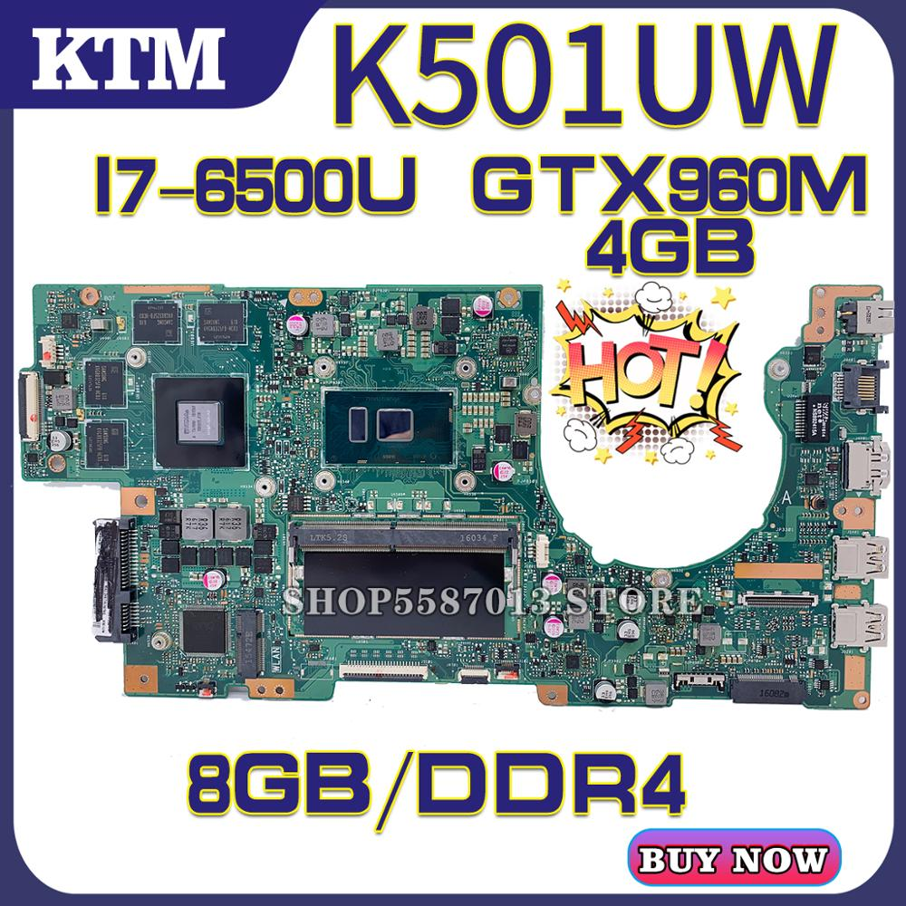 U5000 For ASUS K501UQ K501UX K501UW K501UXM Laptop Motherboard K501U Mainboard Test OK I7-6500U Cpu GTX960M/4GB DDR4 8GB-RAM