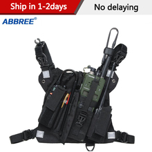 Abbreeวิทยุหน้าอกสายรัดด้านหน้ากระเป๋าเสื้อกั๊กRigกระเป๋าสำหรับWalkie Talkie Baofeng UV 5R TYT wouxun