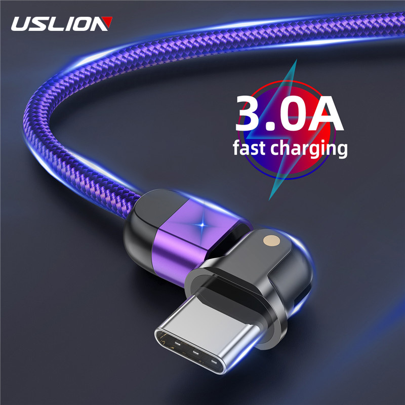 USLION 180 Degree USB Cable Rotate Type C 3A Fast Charge Wire Type C Cable USB C For Samsung Galaxy Xiaomi Huawei Mobile Phone|Mobile Phone Cables|   - AliExpress