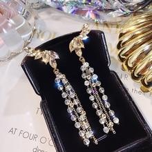 New Fashion Earrings Exaggerated Temperament Elegant Long Crystal Pendant Geometric Ladies Tassel Earrings Pearl Jewelry Gift new ladies long pendant metal tassel earrings fashion jewelry personality geometric ladies earrings pendant jewelry