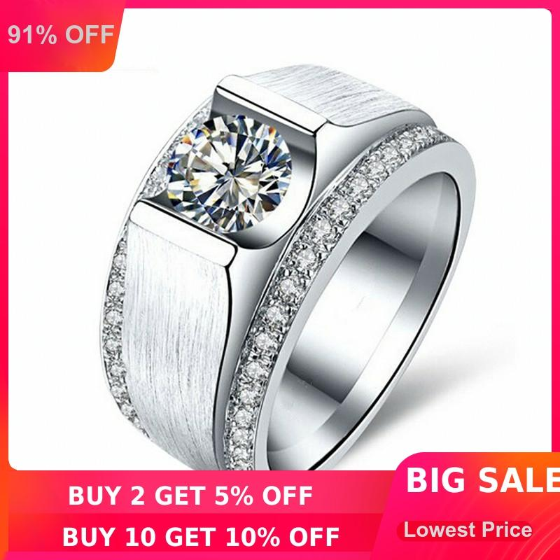 choucong Fashion Jewelry Men ring 2ct 5A Zircon cz 925 Sterling silver ring Engagement Wedding Band Ring for Men finger