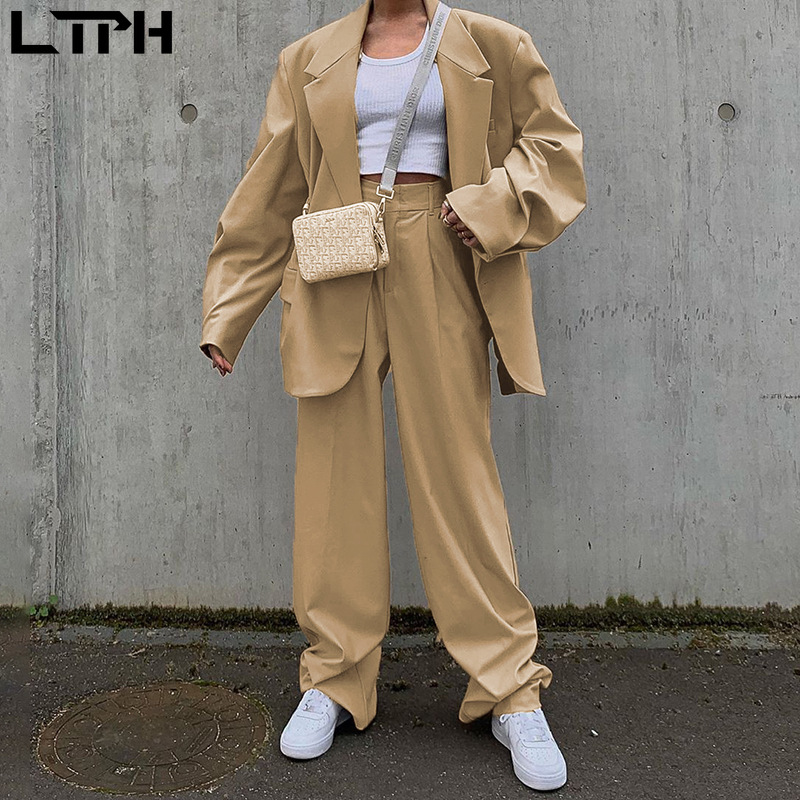 LTPH 2020 Autumn new arrival ins England style fashion casual Loose blazer women suit Simple with Solid color small trousers