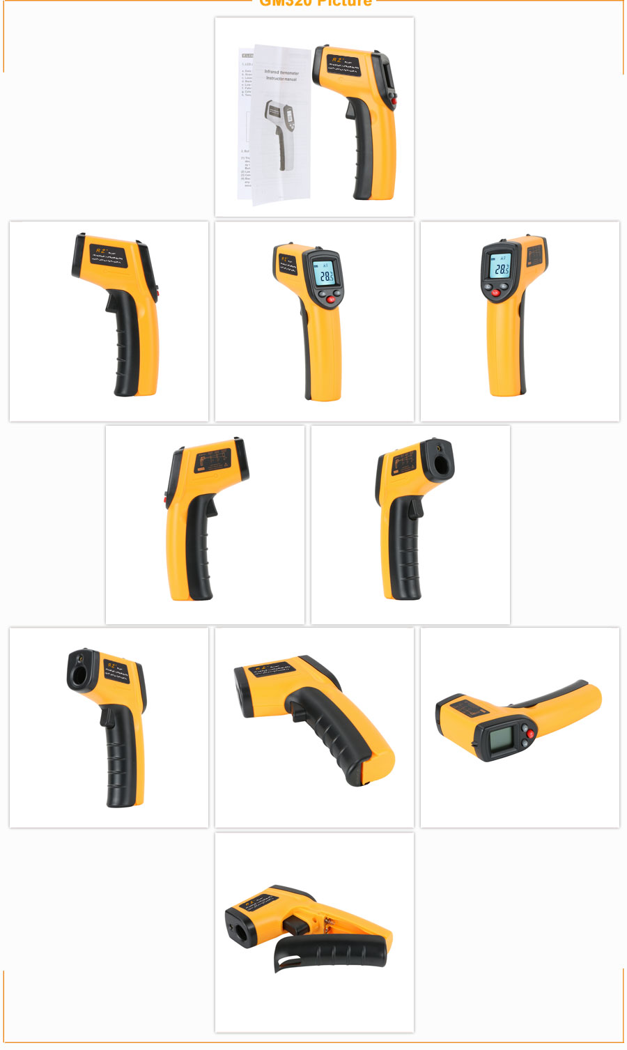 H76610f55b94d44ef9cba727f74abb1e0U RZ IR Infrared Thermometer Thermal Imager Handheld Digital Electronic Outdoor Non-Contact Laser Pyrometer Point Gun Thermometer