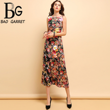 Baogarret Fashion Runway Summer Dress Womens Sleeveless Gorgeous Floral Printed Appliques Vintage Holiday Midi Dresses