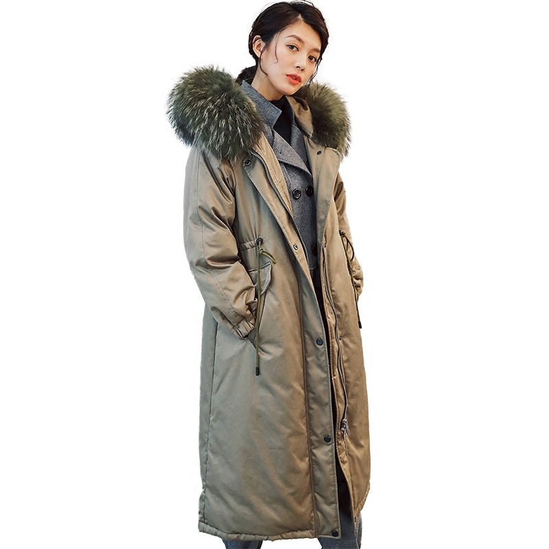 Winter Duck Down Jacket Women Long Down Coat Female Thick Slim Jackets Clothes Ladies Large Fur Hooded Warm Coats 7Y3118