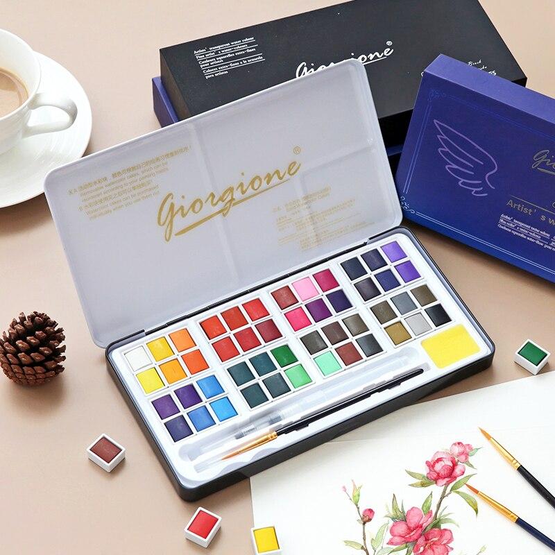 36/48 цветные однотонные акварельные краски в наборе, порошок для начинающих, Детская прозрачная Акварельная ручка, пигментные художественны...