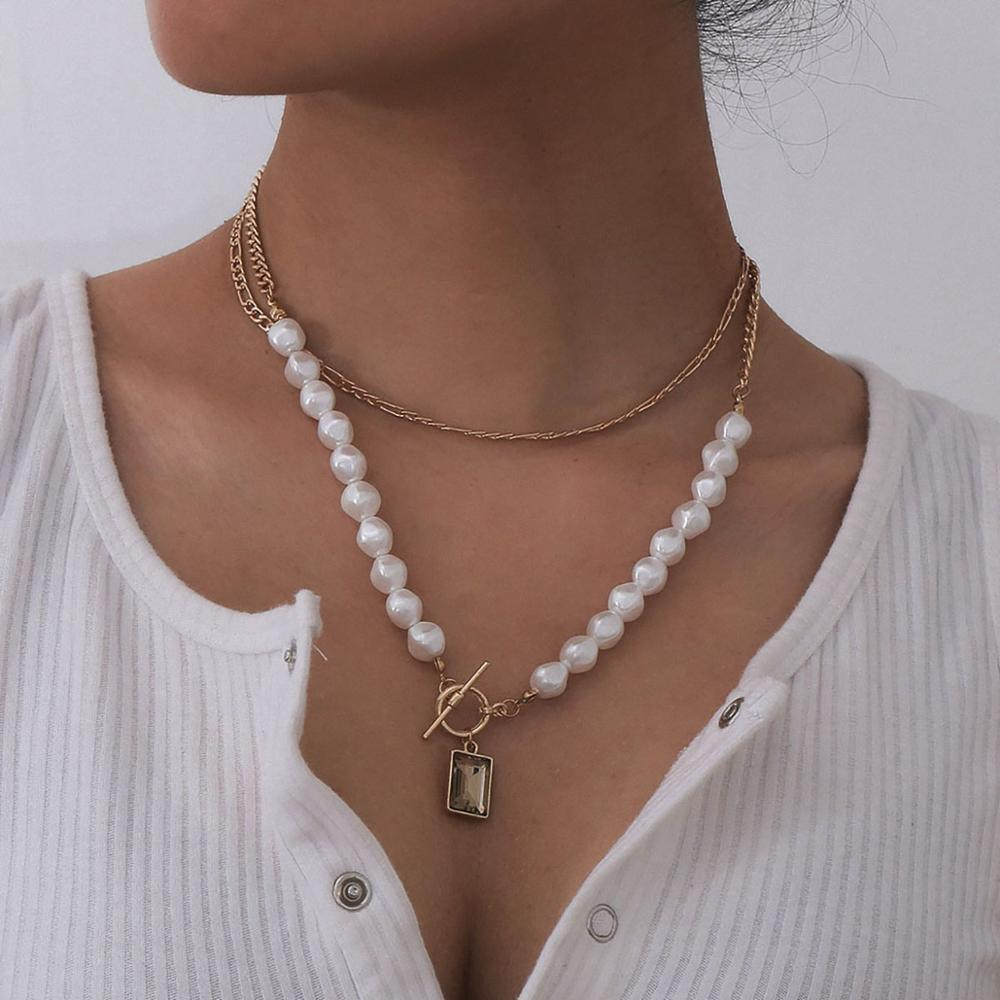 Ingemark Multilayer White Imitation Pearl Choker Necklace Korean Steampunk Carved Coin Queen Pendant Long Chain Necklace Women