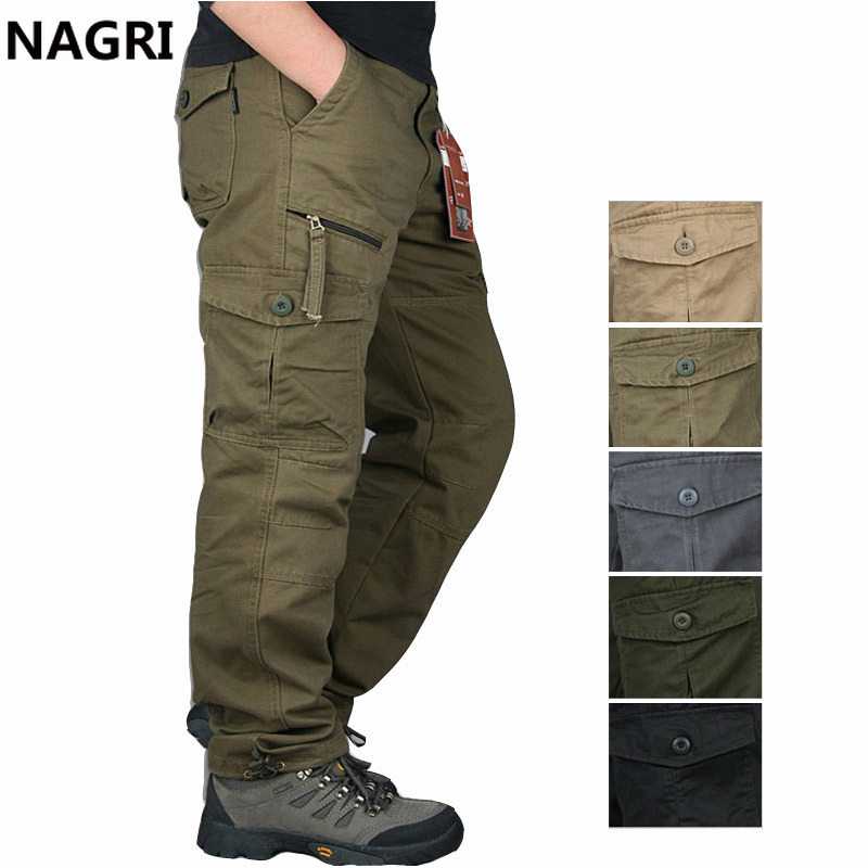 2019 Cargo Pants Men Outwear Multi Pocket Tactical Military Army Straight Slacks Pants Trousers Overalls Zipper Pocket Pants Men
