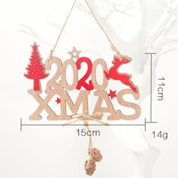 2020 Xmas Letters Elk Tree Wooden Sign Christmas Decoration for Home Pendant Hanging Ornament New 6