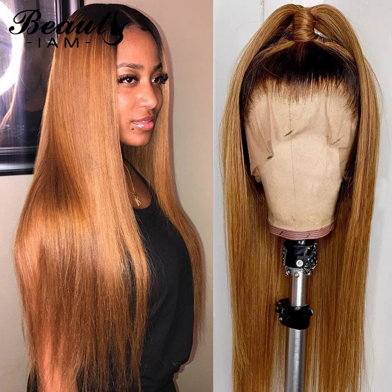 1B/27 Ombre Straight Lace Front Human Hair Wigs For Women Honey Blonde Peruvian Remy Lace Front Wig Pre Plucked With Baby Hair
