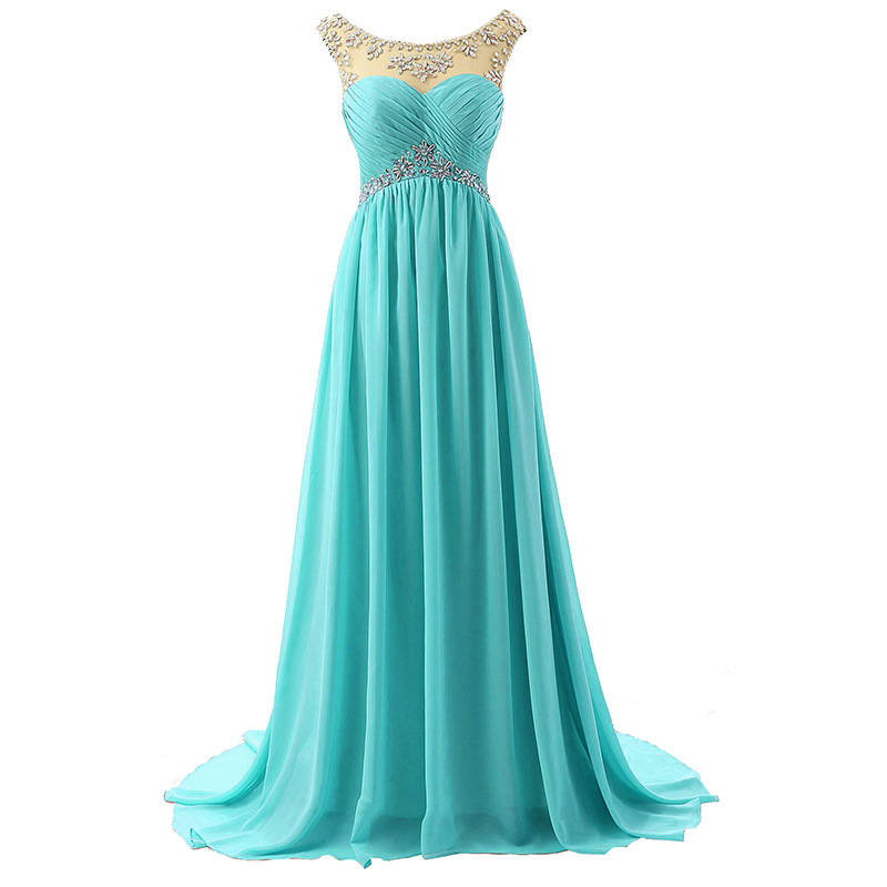 Crystal Beaded Chiffon Bridesmaid Dress Long Turquoise Wedding Party Pregnant Woman Dresses Wedding Guest Dresses
