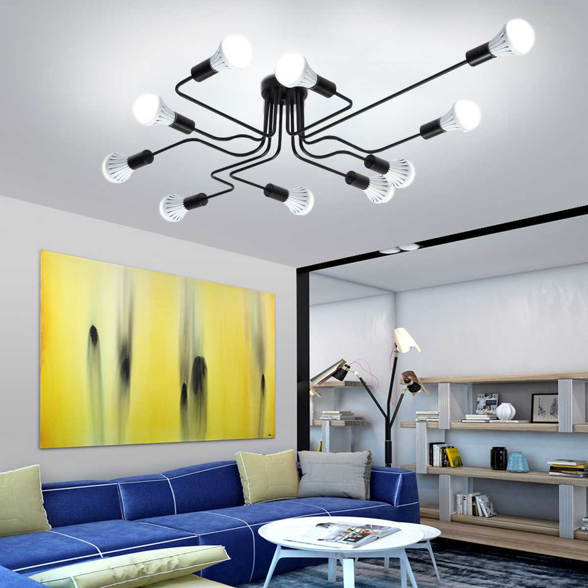 Modern E27 LED Ceiling Chandelier Lighting 10 Heads Living Room Bedroom Chandeliers Home Lighting Fixtures vintage lamp