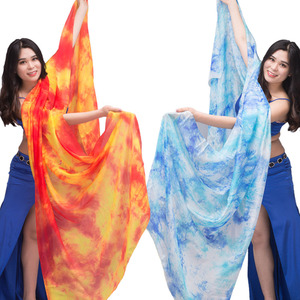Image 1 - New 100% Veils Light Silk Belly Dance Hand Thrown Scarf Shawl Veil Silk 200cm 250cm 270cm Kids Adults Stage Performance 13 Color