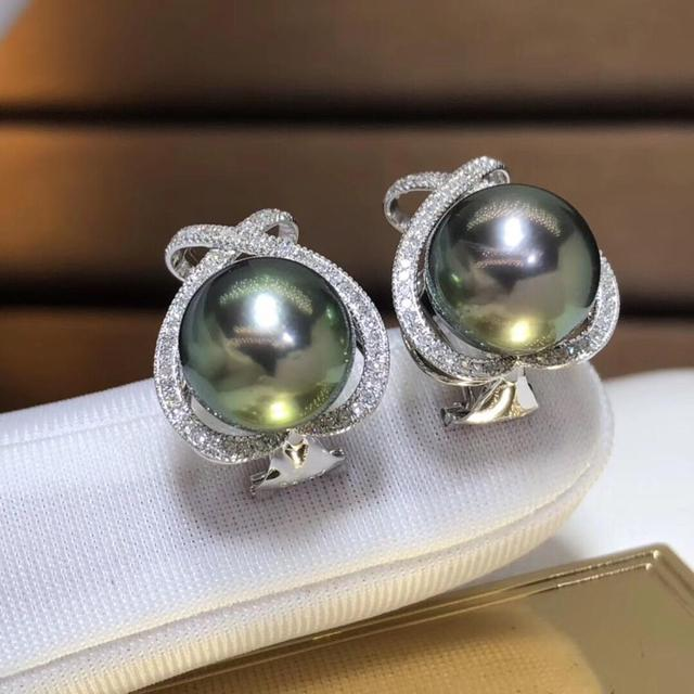 Fine Jewelry Pure 18 K Rose Gold 10-11mm Natural 10mm Tahiti Round Pearl Earrings for Women Fine Pearl Earrings 1