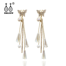 DREJEW Gold Silver Butterfly with Pearl Statement Earrings 925 Custom Crystal Drop Sets for Women Wedding Jewelry HE924