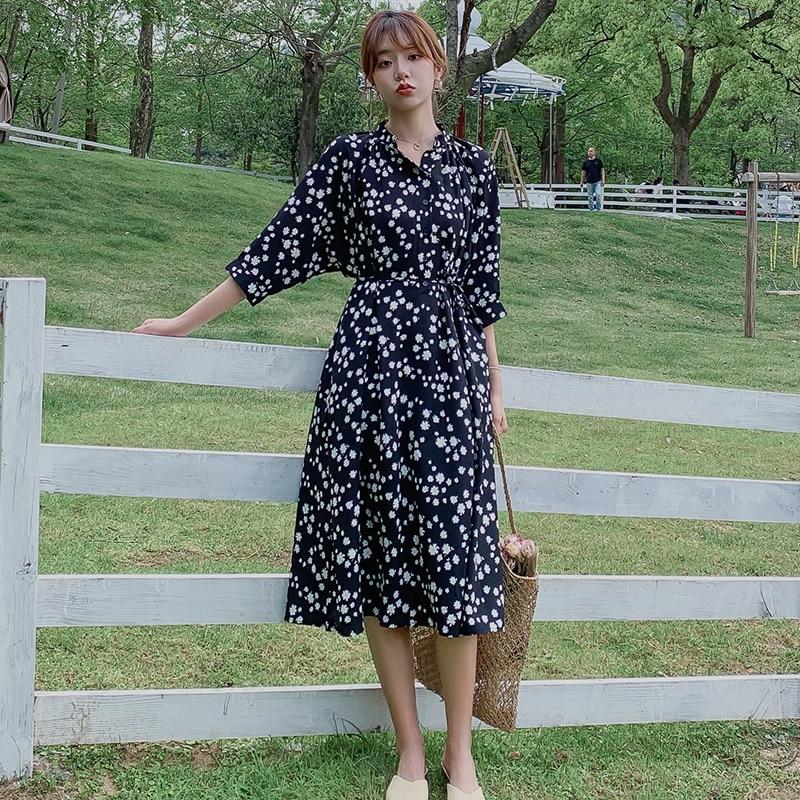 Women Black Long Chiffon Loose Floral Dress Summer Autumn 2020 Runway Elegant Korean Party Dress Boho Casual Vacation Dresses