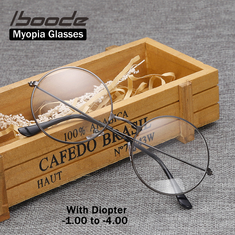 Iboode Retro Vintage Metal Round Frame Myopia Glasses With Diopter -1.0 1.5 2.0 2.5 3.0 3.5 4 Nearsighted Glasses Optical Frames