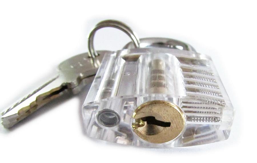 DHL 200pcs high quality Lockpick Padlock Lock Pick Set Cutaway Inside View Padlock for Practice Training Skills(China)