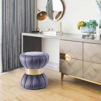 Modern luxury gold dressing stool bedroom hallway furniture solid wooden stool shoe bench fabric round stool ottoman