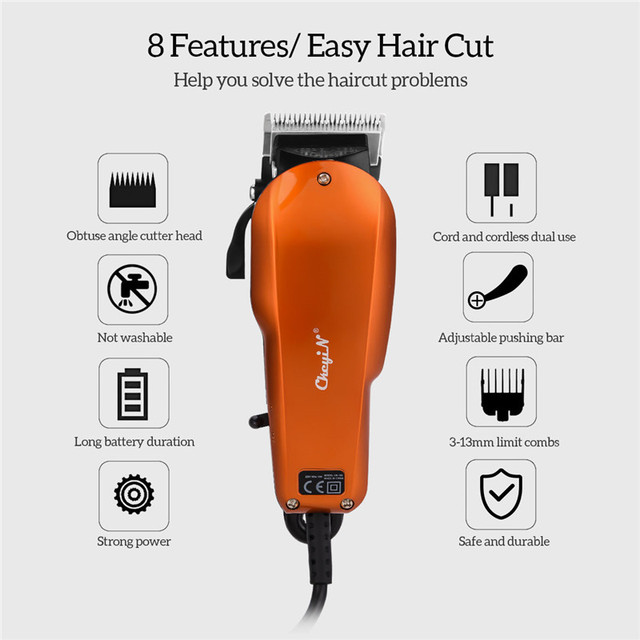 5-Star  cordless hair trimmer  For Adult Baby  Orange  10W Stainless steel 3mm 6mm 10mm 13mm hair length  Hair Removal