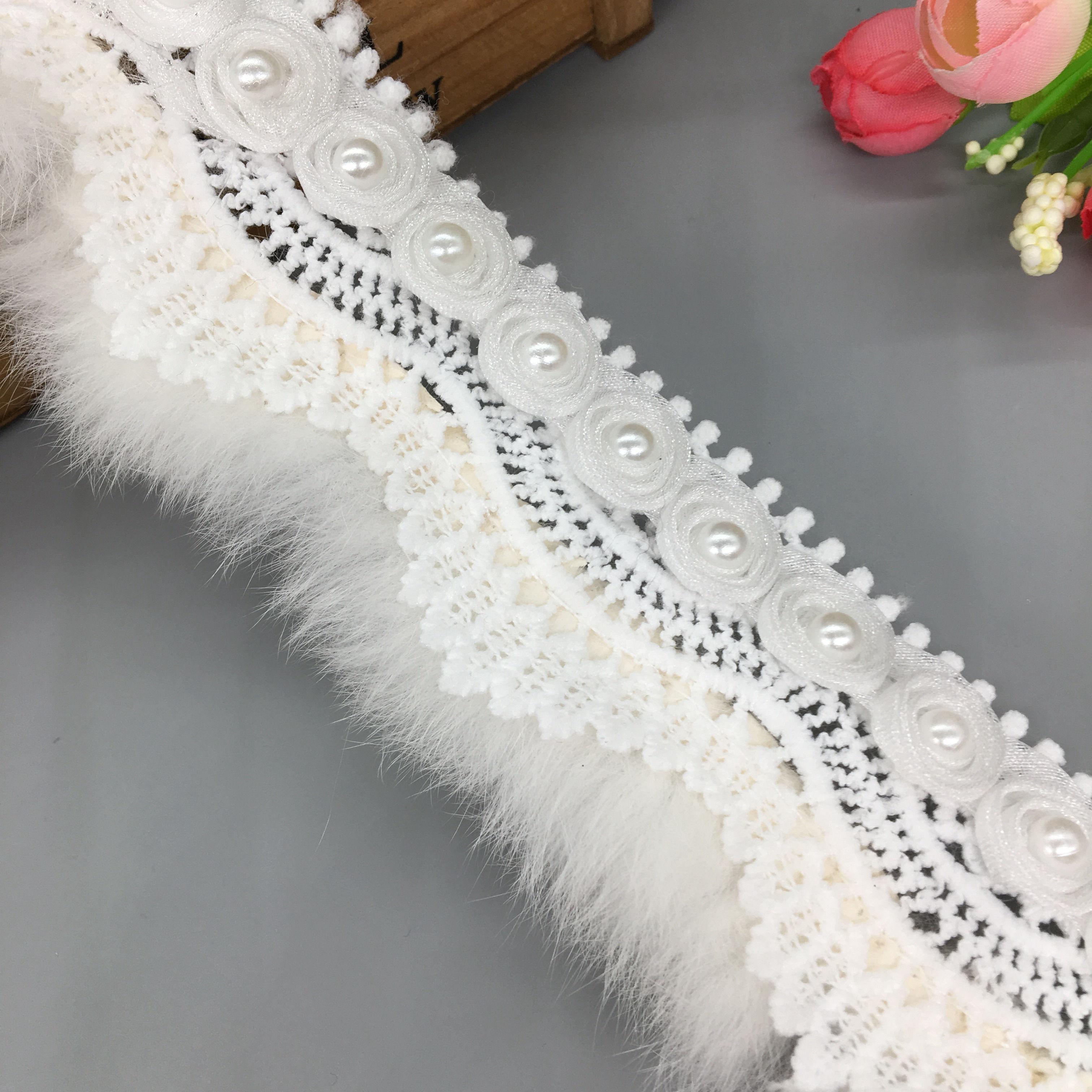 1 год, белый помпон из искусственного меха, 3D Цветочный Лист, кружевная отделка, лента, ткань с вышивкой, аппликация для шитья, рукоделие, свад...