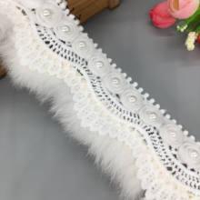 1 yıl beyaz Faux kürk Pom Pom 3D çiçek yaprak dantel Trim şerit kumaş işlemeli aplike dikiş el sanatları düğün elbisesi elbise