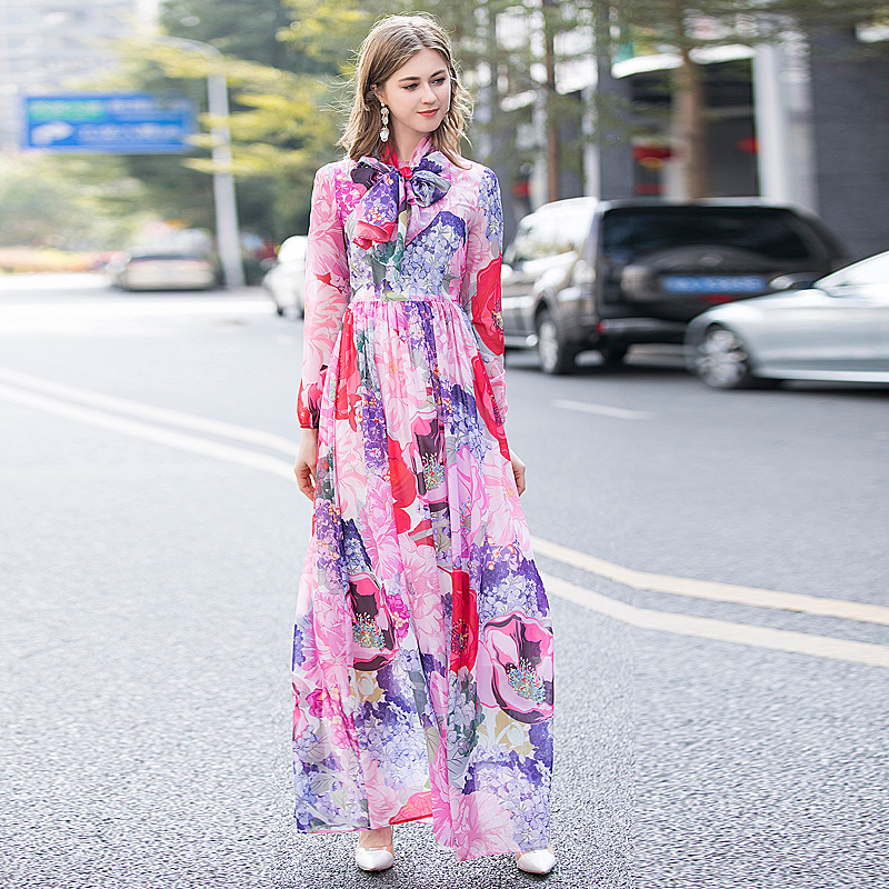Long Dress Gorgeous High Quality Spring New Women'S Fashion Party Boho Beach Vintage Elegant Chic Print Ribbon Chiffon Dresses