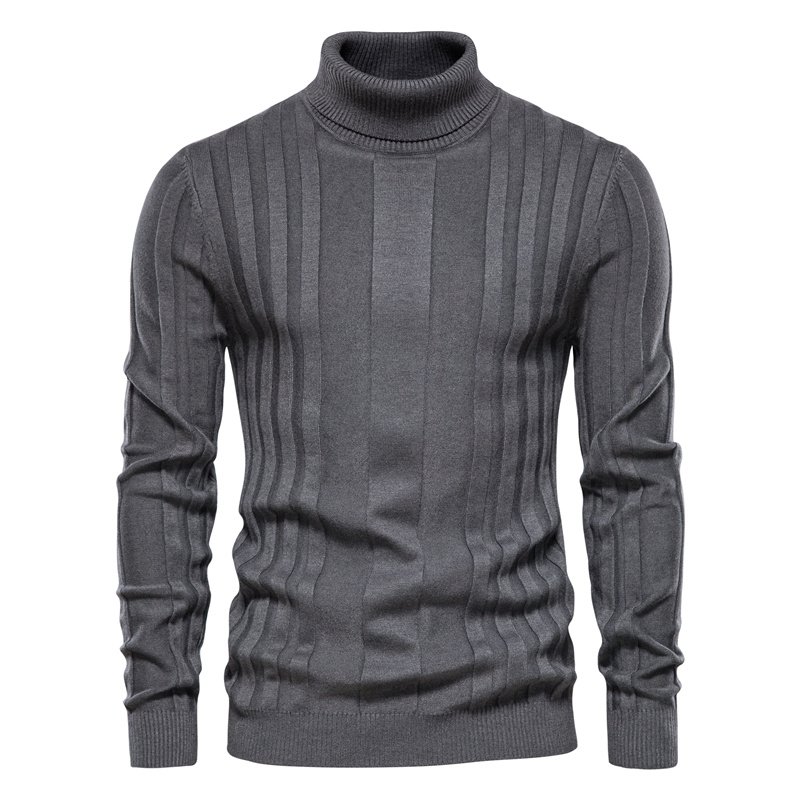 AIOPESON Slim Fit Pullovers Turtleneck Men Casual Basic Solid Color Warm Striped Sweater Mens New Winter Fashion Sweaters Male