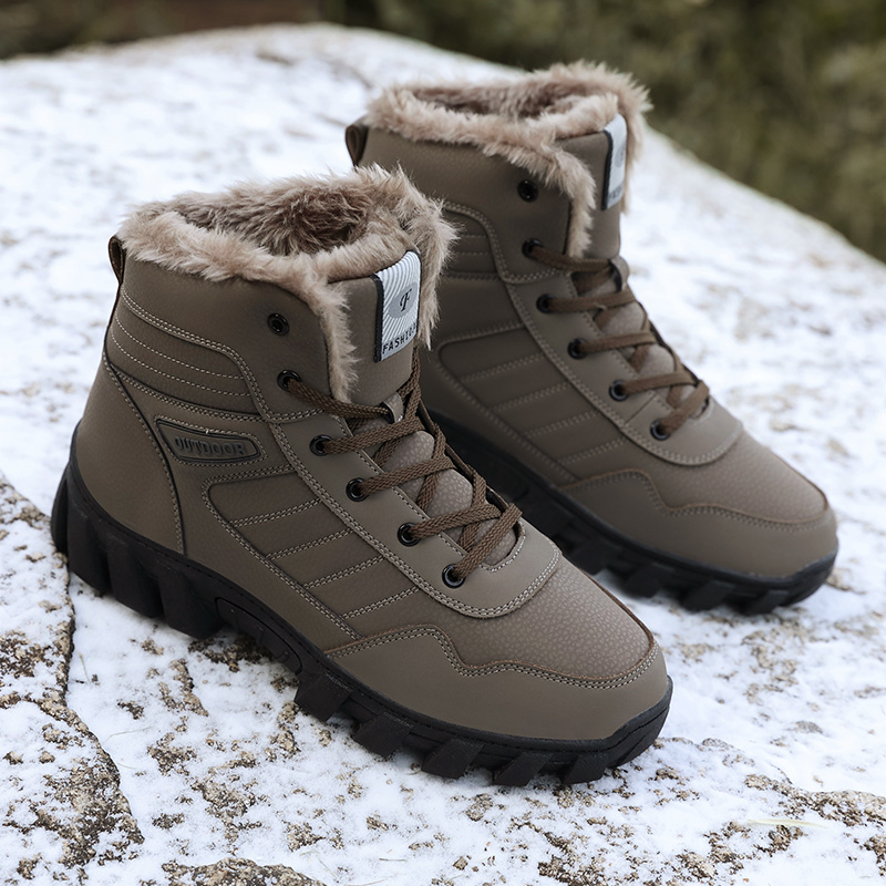 Brand Men Winter Snow Boots Warm Super Men High Quality Waterproof Leather Sneakers Outdoor Male Hiking Boots Work Shoes 35-46