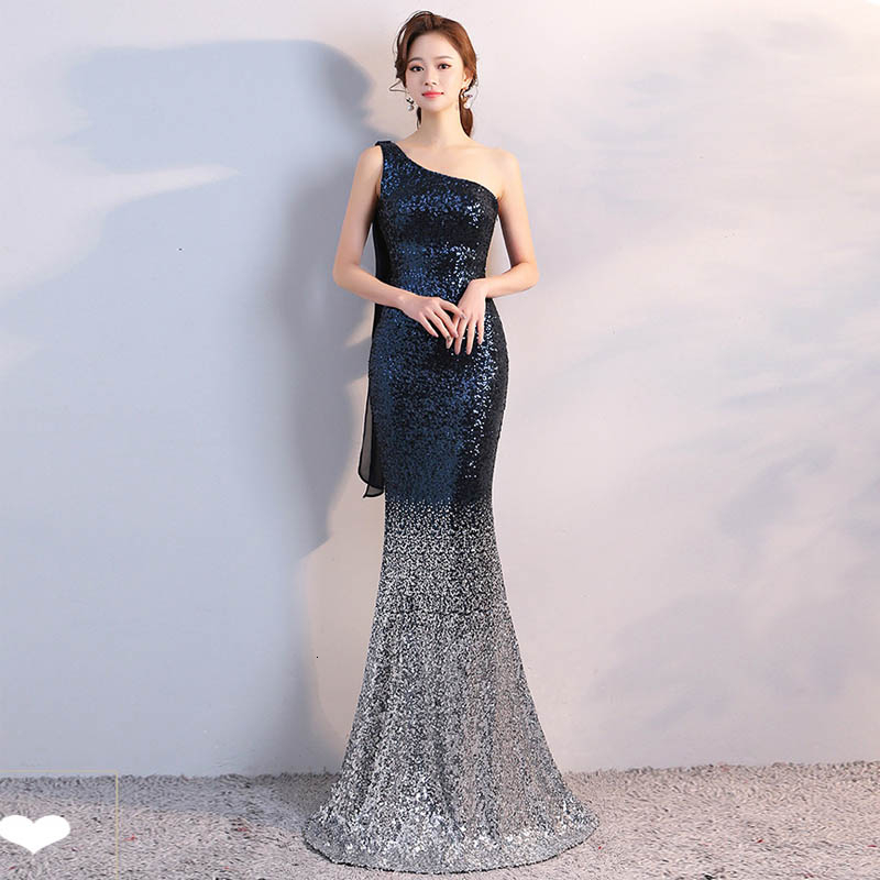 Fashion Elegent Sequins Chinese Evening Dress Women Sexy Qipao Modern Long Party Dresses One Shoulder Mermaid Wedding Costume