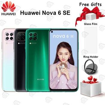 Перейти на Алиэкспресс и купить Смартфон Huawei Nova 6 SE, 6,4 дюйма, 8 + 128 ГБ, Kirin 810, 8 ядер, Android 10,0