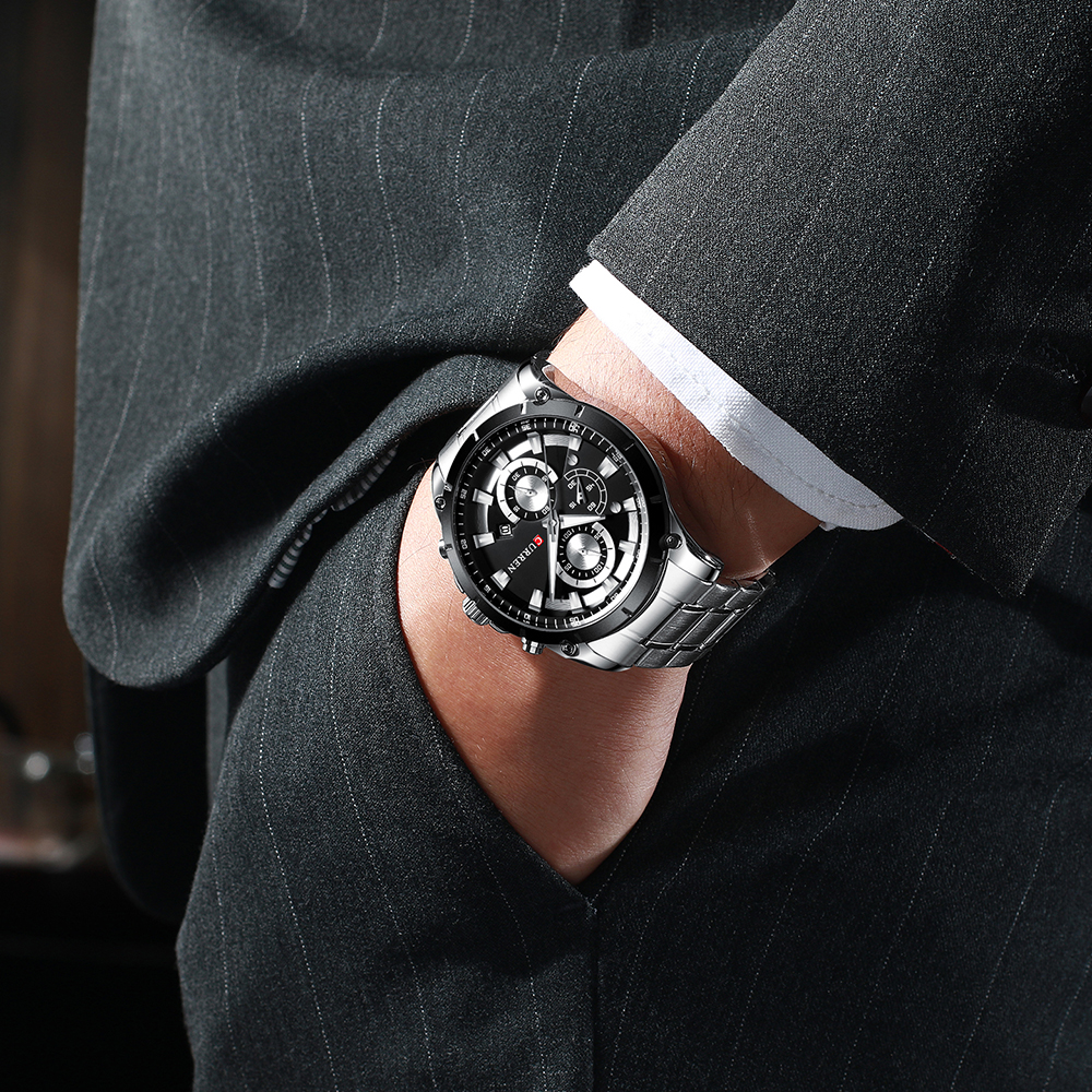 CURREN kreatywny Design zegarki mężczyźni luksusowy zegarek kwarcowy z chronograf ze stali nierdzewnej Sport zegarek męski zegar Relojes 6