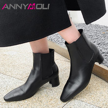 ANNYMOLI Chelsea Boots Women Real Leather Med Heel Ankle Boots Square Toe Short Boots Thick Heel Female Shoes Autumn Winter 40 prova perfetto punk black leather ankle boots woman round toe rivet belt buckle square med heel shoes women fashion martin boots