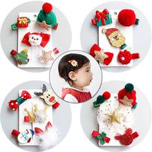 New 5Pcs/set Children's Hair Clips Hair Accessories Christmas Set Little Girl Water Mink Hair Santa Snowman Crown Tiara Hairpin(China)