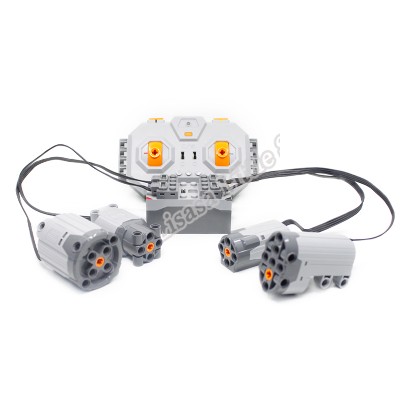 New Battery 4 Channel 2.4G Remote Control With 4 Motors RC USB Charge 8878 Building Blocks Legoinglys Technic Power Funtion Boys