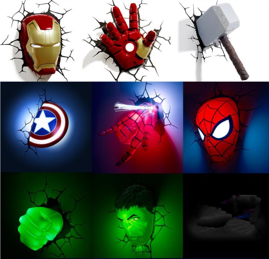 Avengers Wall Lights Hulk Iron Man Captain America Spider-Man 4 IN ALL LIGHT UP!