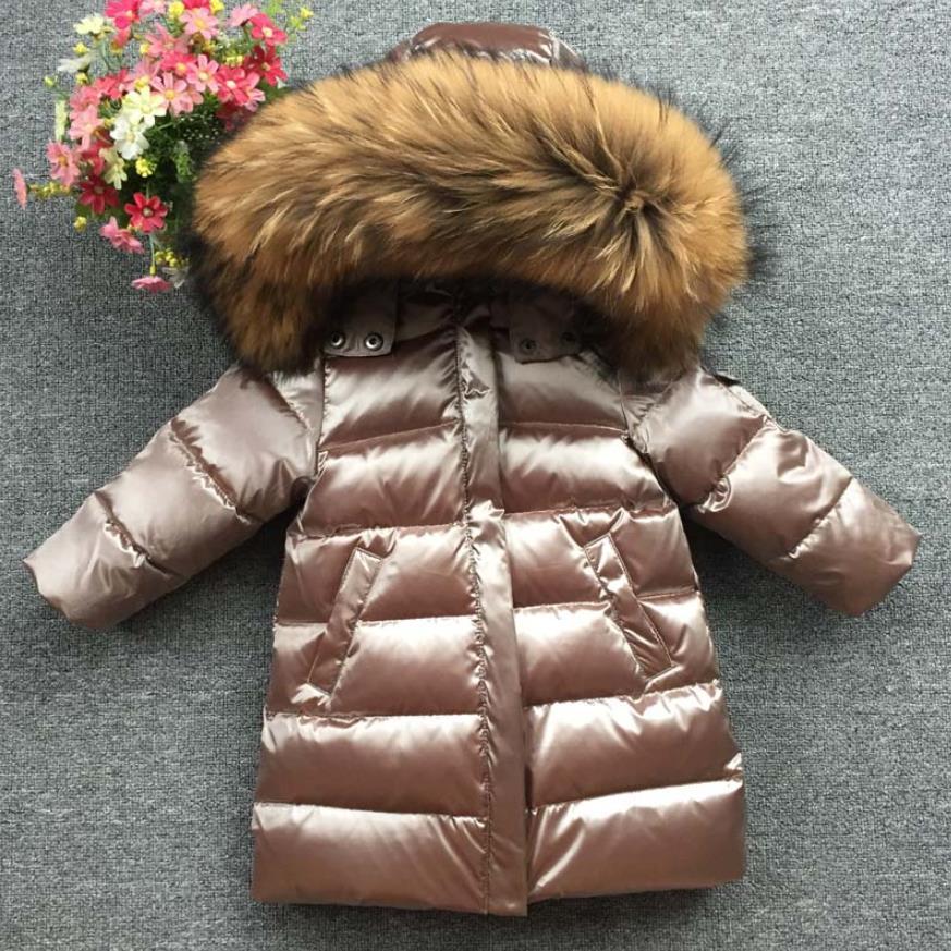 Детские зимние Утепленные пуховики с натуральным мехом для мальчиков и девочек 90 длинное пуховое пальто, куртка пальто, От 1 до 12 лет Одежда