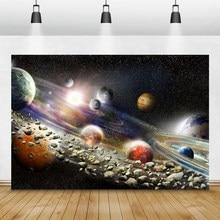 Laeacco espaço universo planetas reluz estrelas meteorito bebê aniversário backdrops para fotografia fundos para estúdio de fotos