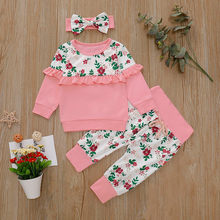 MUQGEW Newest Print Ruffles Children Set Pink Infant Baby Long Sleeve Floral Clothes Tops Pants Girls Outfits roupa menina(China)
