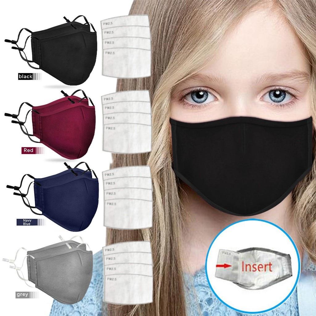 Детская Хлопковая моющаяся многоразовая маска для лица для мальчиков и девочек с регулируемым фильтром пылезащитные ветрозащитные маски д...