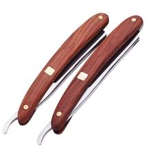Old-Fashioned Razor Manual Sandalwood Handle Razor Haircut Shaver 400C Stainless Steel Blade Shaving Razor Barber Tools G0522