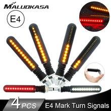 4PCS Flasher Motorrad LED Blinker 4E Mark Stop Signal Fließende Wasser Lichter Schwanz Blink/Lauf Blinker DRL für Honda