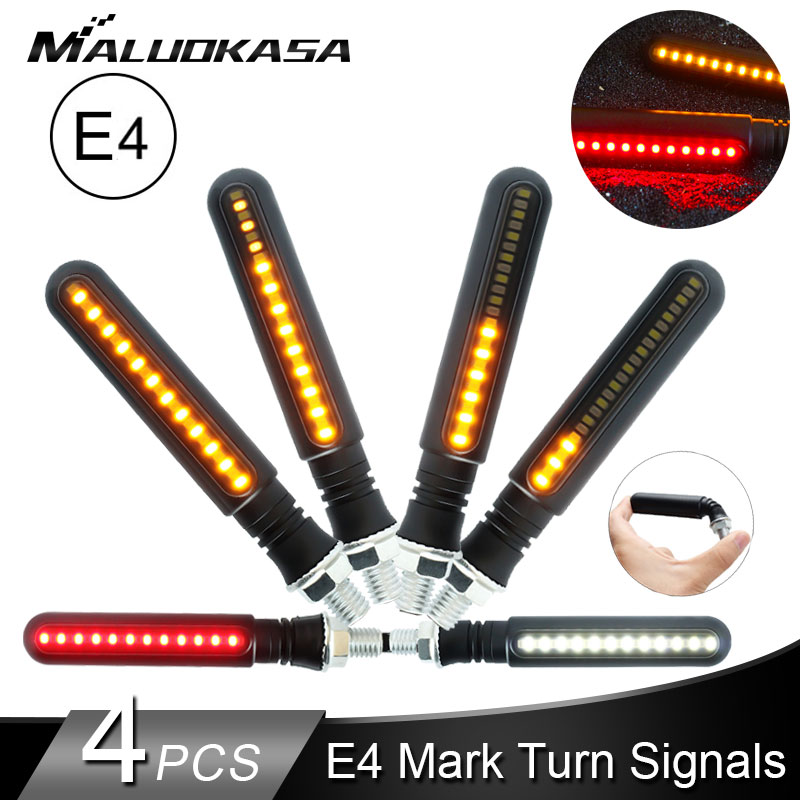 4PCS Turn Signals Motorcycle 4E Mark LED Stop Signal Flowing Water Flashing Lights  Tail Flasher/Running Blinker DRL For Honda