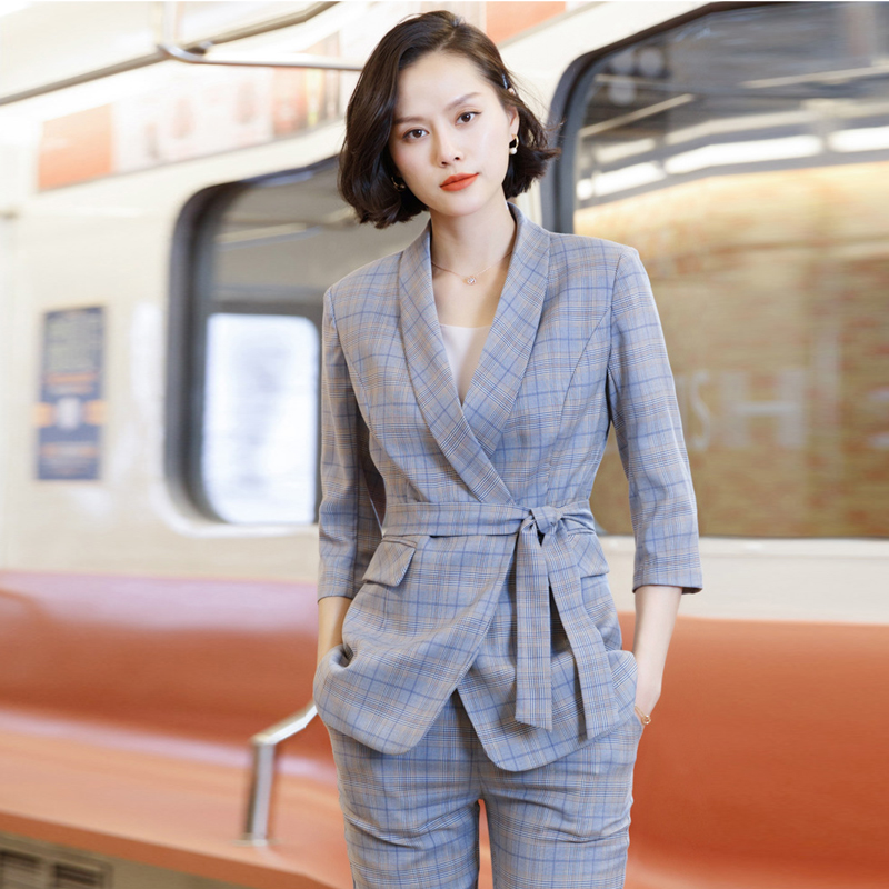 Early Autumn Ladies Casual Plaid Suit Pants Set Business Office Suit Trendy Slim Large Size Women's Suit Two-piece Slim Trousers