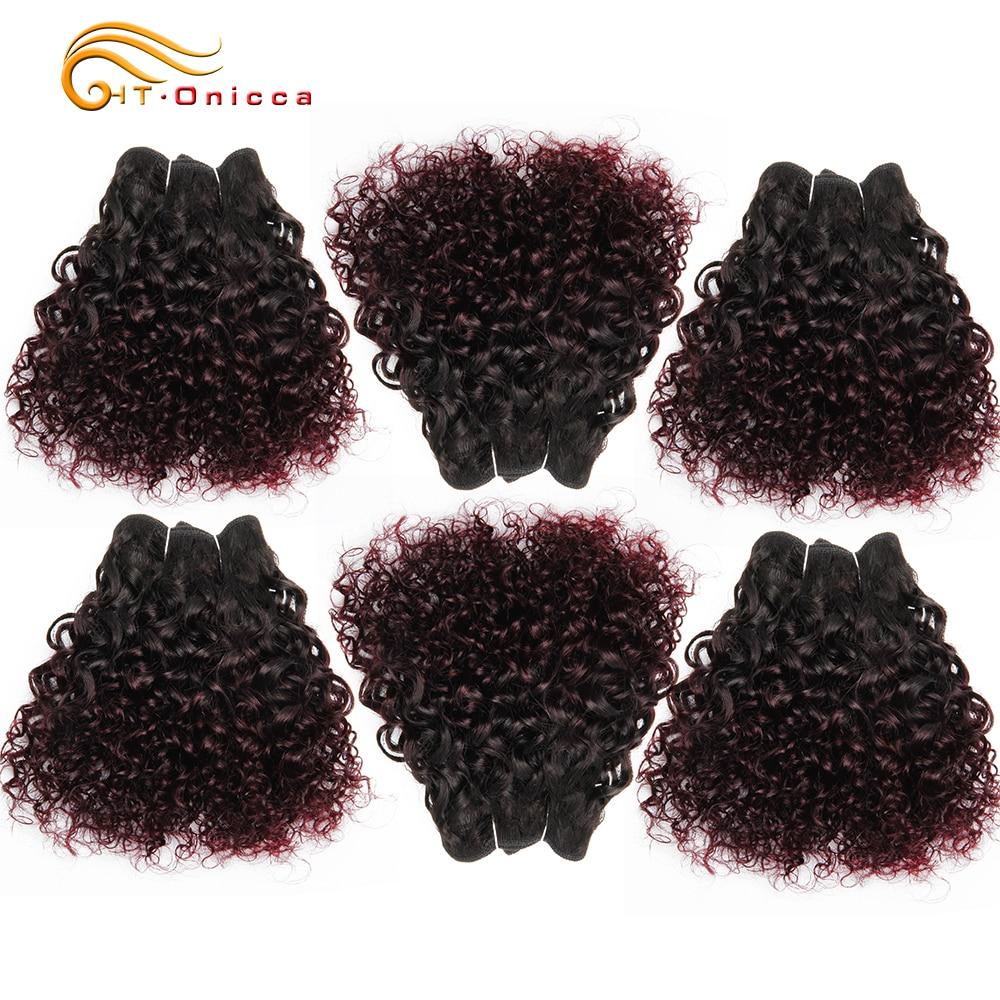 Onicca бразильские кудрявые человеческие волосы, 6 пряди, 1B 99J 30 Remy афро кудрявые вьющиеся волосы, пряди 190 г 1 упаковка