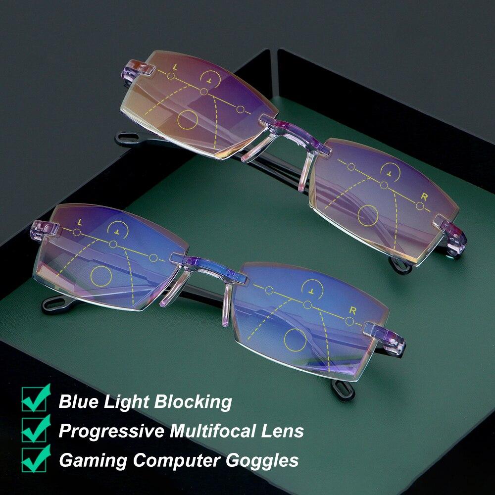 1 adet Ultralight çerçevesiz okuma gözlüğü elmas kesim multifokal ilerici okuma gözlüğü mavi ışık engelleme bilgisayar gözlükleri