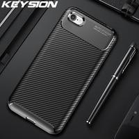 KEYSION Caso Antiurto per il iPhone SE 2020 Nuovo In Fibra di Carbonio Del Telefono Del Silicone Della Copertura Posteriore Per il iPhone 11 Pro Max XR XS Max 8 7 6 Più