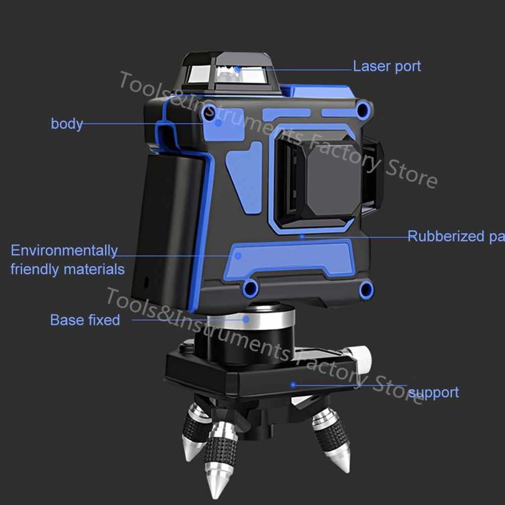 Лазерный уровень 360 самонивелирующийся 3D 12 линий Osram синий горизонтальный вертикальный крест супер мощный лазерный луч USB более высокая видимость